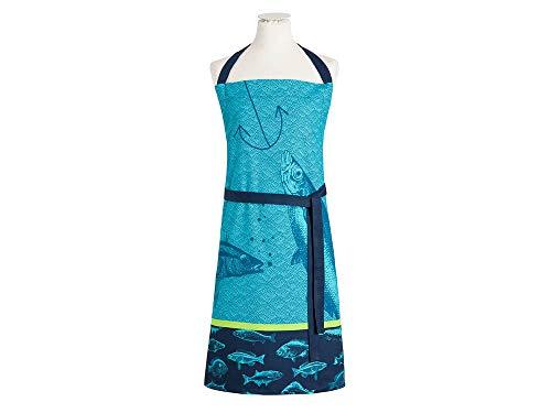 Coucke Bord De Mer Tablier Poissons, Coton, Bleu, 85x76 cm