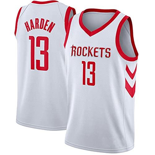 MMWW Camiseta de Camisetas de Baloncesto para Hombre, Houston Rockets # 13 James Harden Uniform, Chaleco sin Mangas Transpirable, Adecuado para Deportes y Fitness,Blanco,S