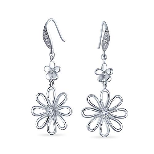 Floral Garten Hochzeit Zirkonia Akzent offene Blume Form CZ Daisy Dangle Ohrringe für Frauen Französisch Draht 925 Sterling Silber