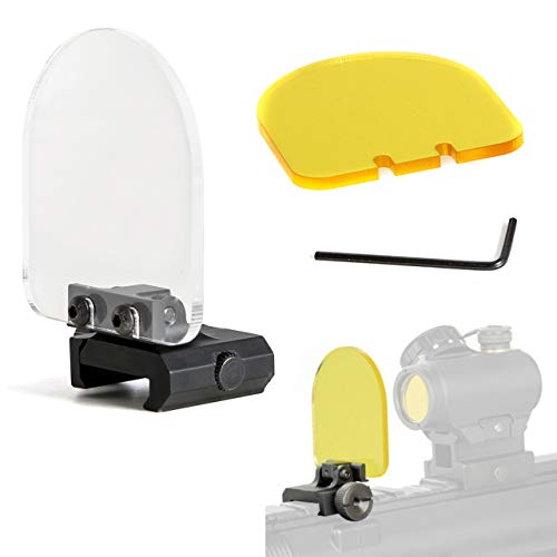 RimFly Protector para Lente de Airsoft Pack 2 Cristales + Llave Allen Cubierta Mira Rifle a Prueba de Balas Plegable Tapa Mira Holografica y Telescopica Pantalla Ajustable Alcance