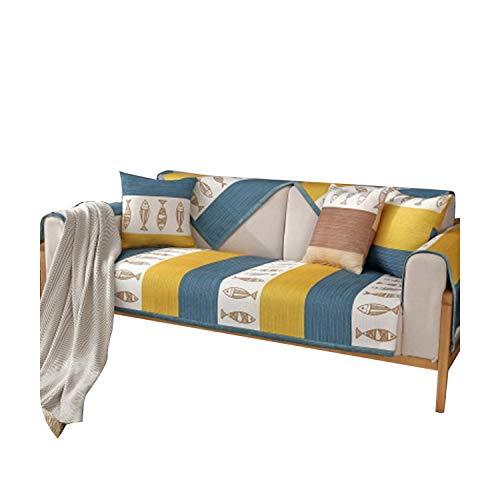 Vade Slipcover Splice Solid Color Living Sofa Cover für Sectional L-Sofa Sofa 1/2/3/4 Seat Rutschfest Sofa Towel-Gelb 110 x 180 cm 43 x 70 Zoll