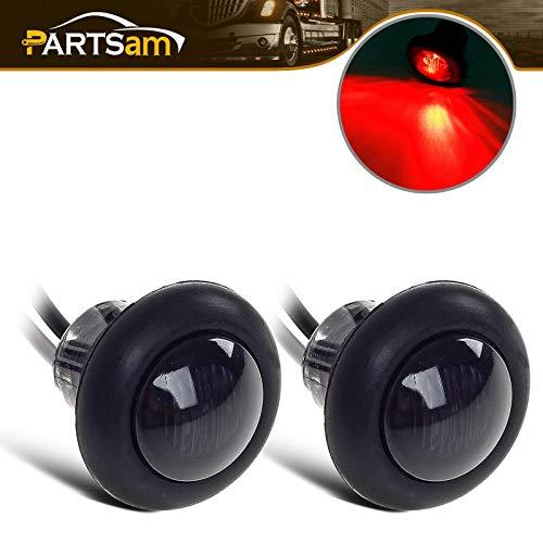 """2) 3/4"""" Smoke/Red LED Clearance Marker Bullet Light / Rubber Grommet Single LED For Truck Trailer Boat Car Pickups"""