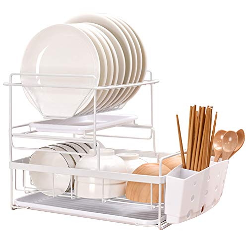 Macallen Dish Drainer Rack Kitchen Sink Drying Rack, 2-Layer Dish Rack with 2 Removable Drip Trays and Cutlery Cups, White
