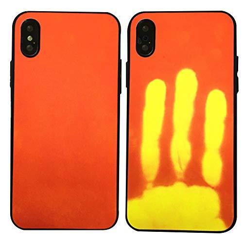 LLKJT Funda iPhone X/XS/XR/XSMAX Thermal Heat Induction Mágico Cambio de Color Sensor Térmico Fluorescente Calor Térmico Inducción Heat Sensible Matte Phone Case Cover,Redtoyellow,X