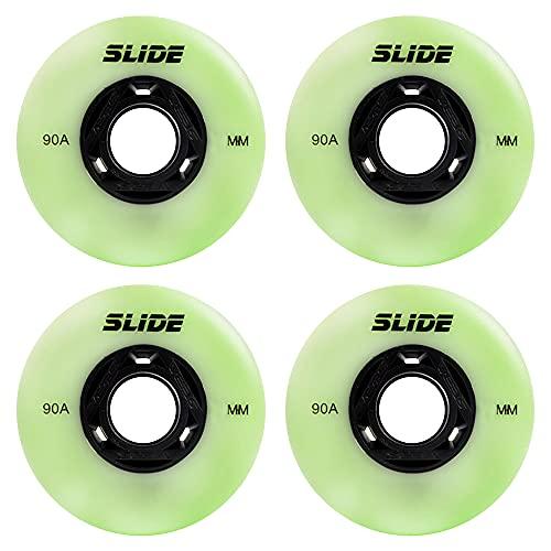 TGHY 4 Piezas Ruedas Luminosas para Patines en Línea 72mm 76mm 80mm Rueda de Repuesto para Patines en Línea 90A para Patines para Niños y Adolescentes Sin Rodamientos Verde y Azul,Verde,76mm