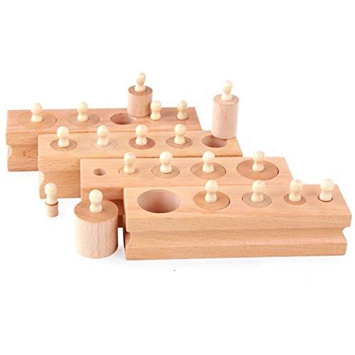 ZSYLOVE ZHANGSUYUAN Montessori Educational Juguetes de Madera Matemáticas Cylinder Socket Pack de Familia Aprendizaje temprano 4pcs / Set