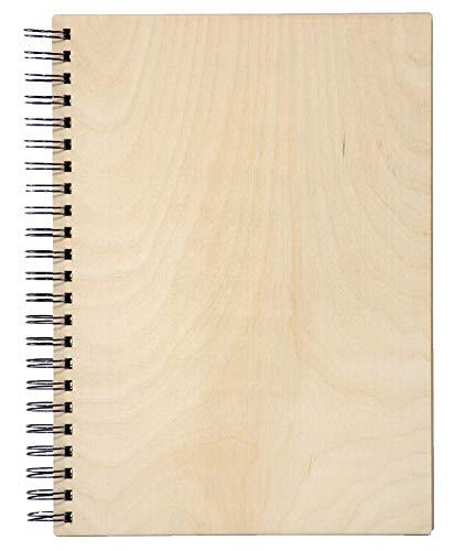 NOTIZBUCH Skizzenbuch mit Spiralbindung Spiralalbuch mit Umschlag aus Holz, 100 Blatt 200 weiße Seiten 80 g/m2, Ringbuch 31x21 cm, Hardcover Rezeptbuch Scrapbook Scratchbook (A4 Hochformat / Vertikal)