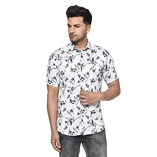 Villain Digital Printed Stretchable Casual Shirts for Mens - White