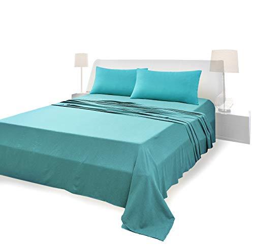 Juego de sábanas completo para cama de matrimonio, material 100% puro algodón, sábanas y 2 fundas de almohada, ropa de cama de color liso, verde oscuro