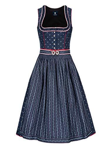 Almbock Dirndl Trachtenkleid - Dirndl midi für Damen in der Farbe blau Made in Germany - Trachtenkleid Midi für Verschiedene Anlässe Größe 34