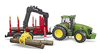 Bruder 09821 John Deere 7930 Forestry and Farm Tractor with Logging Trailer Articulated Crane Arm and 4 Tree Trunks