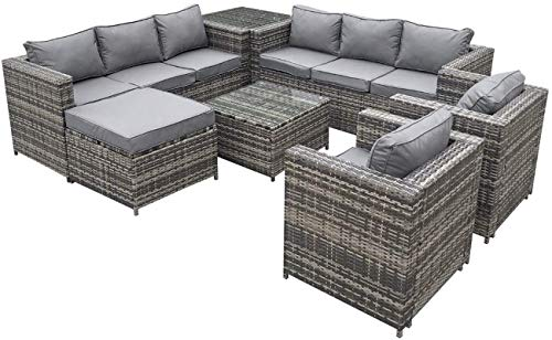 DZGN Rattan Garden Furniture Sets - 9 Seater Grey Rattan Sofa Set Coffee Table Footstool - Outdoor Garden Furniture Covers Waterproof
