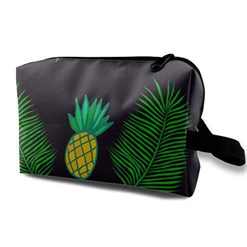 Tropical Leaf Palm und Ananas Seamless Pattern Travel Kosmetiktasche, leichte und praktische personalisierte kosmetische Tasche