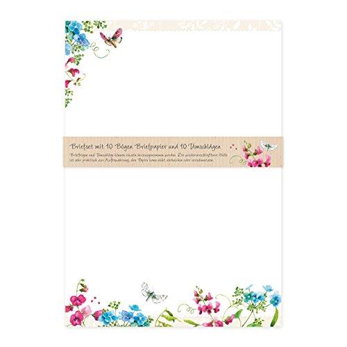 Briefpapier Set edel mit Umschlägen, 10 Seiten DIN A4 mit Blumen und Schmetterlingen, Nostalgie, Retro, cremefarben, Sommerglück