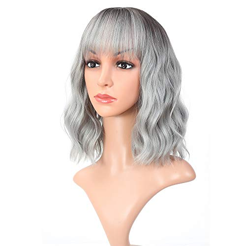 """Vroosar Shoulder Length Wavy Wigs With Air Bangs Curly Short Bob Wig Natural Dark Root Ombre Grey Wigs for Women Synthetic Cosplay Wigs for Girls(12"""", Ombre Grey)"""