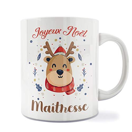 Mug | Tasse | Café | Thé | Petit-déjeuner | Vaisselle | Céramique | Original | Imprimé | Message | Fêtes | Idée cadeau | Renne de Noël - Joyeux Noël Maîtresse