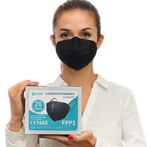 Health2b FFP2 Maske Schwarz CE Zertifiziert [20 Stück] CE1463 Atemschutzmaske Mundschutz DERMATEST® sehr gut