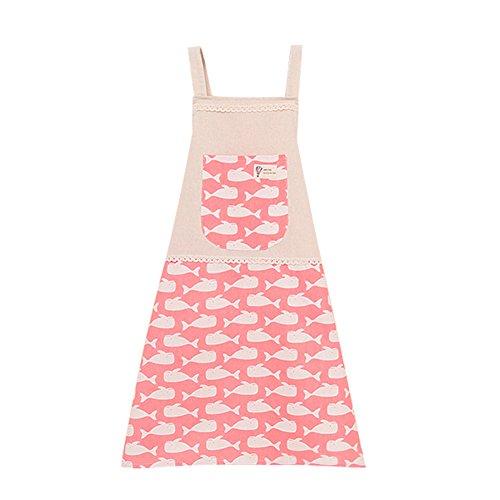 Fablcrew - Grembiule in cotone e lino, motivo maestro di giardino d'infanzia, colore: rosa