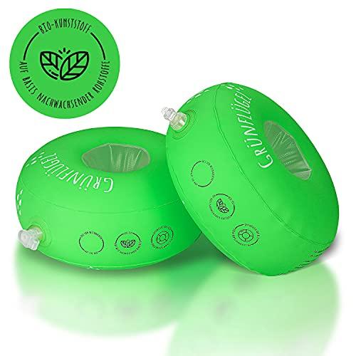 Grünflügel Schwimmflügel Kinder 1-6 Jahre ( Bio-TPU, Schaumstoffkern, keine Weichmacher, Hautfreundlich ) Schwimmhilfe Baby ab 1 Jahr oder 2, 3 Jahre und mehr | Schwimmscheiben | Schwimmring | 11-30kg