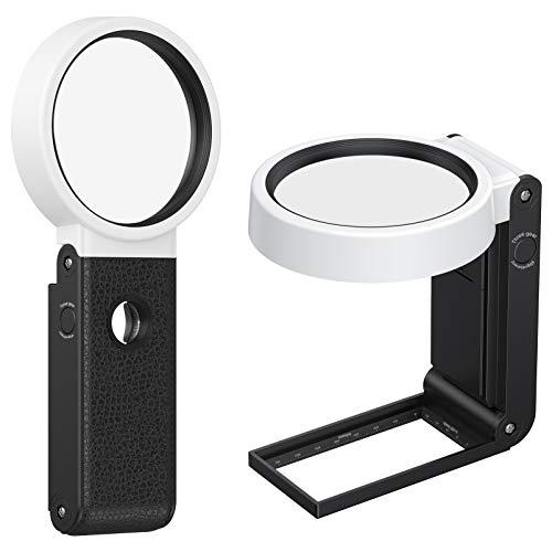 OUTUL 手持ちルーペ 拡大鏡 虫眼鏡 8と25倍レンズ - 5LEDライト付き UVライト付き 目盛り付き台 80mm直径 コンパクト 電池式 USB給電式 持ち運びやすい 鑑定用 子供用 高齢者 専門家探索用品