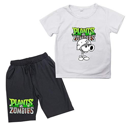 Juego del Verano De Los Niños Camiseta De Manga Plants vs. Zombies Corta De Algodón Patrón Pantalones Cortos Adecuado para Niños Y Niñas De 1-8 Años White-90