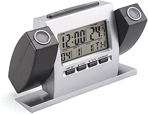 ASDF Reloj Despertador de proyección para Dormitorio Reloj Digital 180 ° Proyector Doble Alarmas Dobles 12 / 24H Termómetro Temperatura Interior