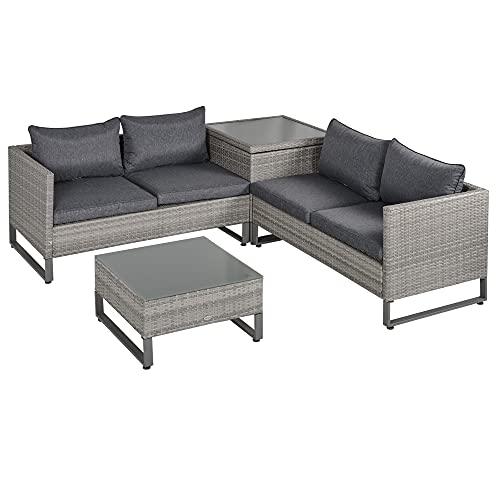 Outsunny 4-TLG. Luxus Polyrattan Gartengarnitur Gartenmöbel Garten-Set Sitzgruppe Loungeset Loungemöbel inkl. Aufbewahrungsbox und Beistelltisch Sitzkissen Grau