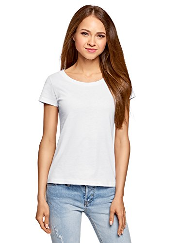 oodji Ultra Damen T-Shirt Basic aus Baumwolle, Weiß, DE 44 / EU 46 / XXL