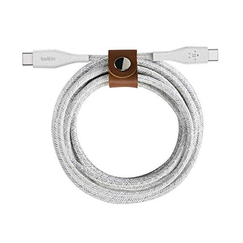 Belkin Boost Charge USB CUSB C Kabel mit Band doppelt geflochtenes Robustes USB C Kabel fur Gerate wie MacBook iPad Pro Samsung Galaxy Pixel 3 12 m Weis F8J241bt04 WHT