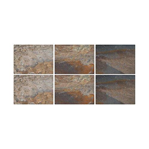 Pimpernel Platzsets aus MDF mit Korkrückwand, Schiefer-Design, 30,5x 23cm, Mehrfarbig, 6-teiliges Set