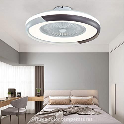 Deckenventilatoren Mit Beleuchtung 80W Creative Invisible Fan LED-Deckenleuchte Fernbedienung Dimmbar Ultra-Leise Kann Timing Fan Kronleuchter Modernes Wohnzimmer Schlafzimmer Deckenlampe,Schwarz