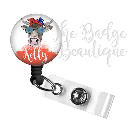 Badge Reel, Personalized Cow Retractable ID, Nurse Badge Reel, Swivel Alligator Clip, 34in. Nylon Cord, Medical MD RN Nurse Badge ID, Badge Holder, ID Badge Pull, Office Employee Name Tag - USA