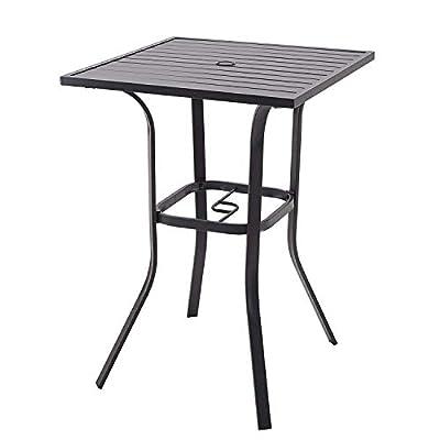 Vicllax Patio Bar Height Bistro Table Outdoor Umbrella Bar Table