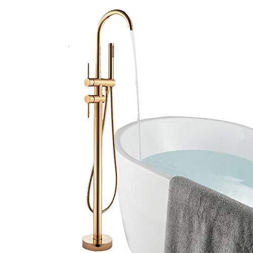 Onyzpily Gold Bodenmontage Badewanne Badezimmer Freistehend Wannenarmatur Mischbatterie ABS Handbrause Mischbatterie 360° Einfüllstutzen mit ABS Bad Kalt- und Heißmischer Duscharmaturen