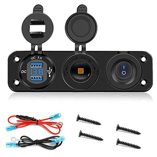 YGL Enchufe USB de Carga Rápida QC 3.0 Voltímetro LED Adaptador de Encendedor de Cigarrillos Impermeable para 12V/24V Marina Motocicleta Camión