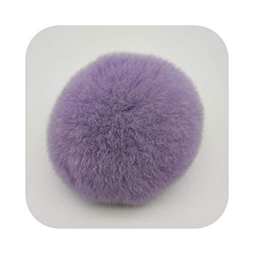 Pompón para llaveros, pompón de 6 cm, conejo blando para mujer, bolsa de conejo, bola de pelo de lana de piel sintética, llavero, bricolaje, 1 unidad – Light Purple