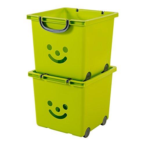 IRIS, 2er-Set Würfelboxen 'Smiley Kids Boxes', KCB-32, Kunststoff, mit Rollen, pistaziengrün, 33 x 32 x 29 cm