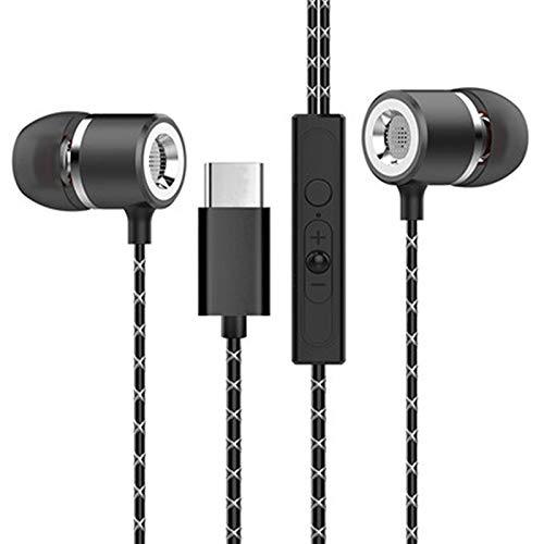 Andifany Tipo-C Auricular De Control De Cable Auriculares Hub Tipo-C Auriculares Auriculares En Oreja HiFi USB-C Estéreo para Letv 2 Pro Mi 5 7 (Negro)