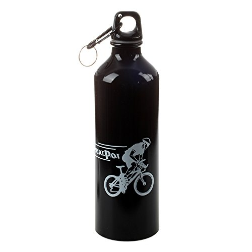 Gesh Botella de agua deportiva de aluminio para camping, ciclismo, color negro
