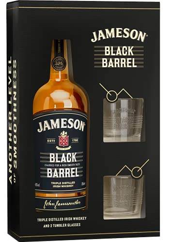 Jameson Whiskey Jameson BLACK BARREL Triple Distilled Irish Whiskey 40% Vol. 0,7l in Giftbox with 2 glasses - 700 ml