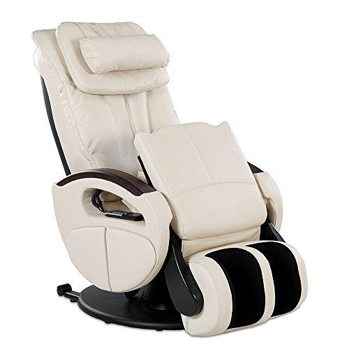 Massagesessel mit elek. Aufstehfunktion, Shiatsu-Massage, Wärmefunktion, 4 Massagetechniken, 6 Massagezonen, Transportrollen, inkl. Kopf- & Nackenkissen (Creme)