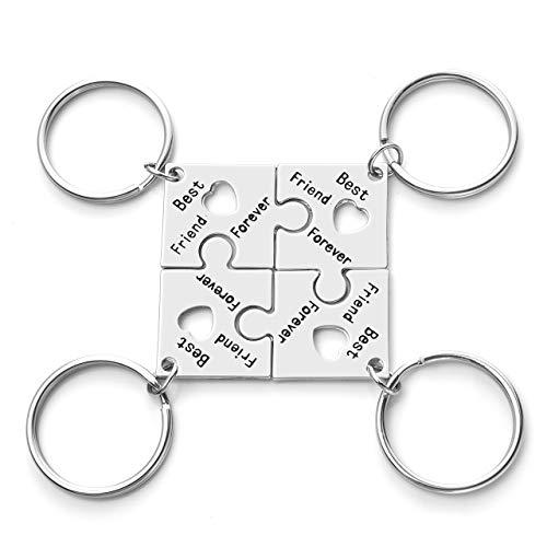JOVIVI - Juego de llaveros de amistad grabados en plata para 4, rompecabezas de corazón, pieza de llavero para mujeres, hermanas, amigos, juego de joyas de recuerdo