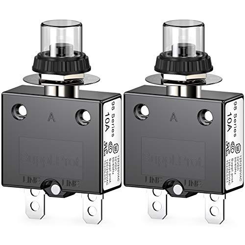 CLDIY Thermischer Schutzschalter, 98 Serie 10A 125 / 250VAC Drucktasten-Reset für Schutzschalter mit Schnellanschlussklemmen und wasserdichter Tastenabdeckung 32VDC, 2 Stck
