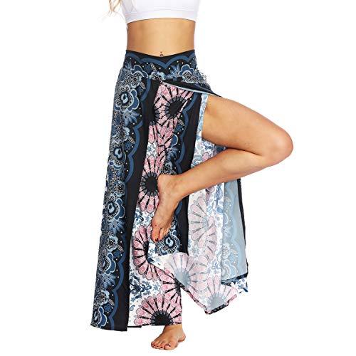 Plustrong Womens Palazzo Slit Wide Leg Pants Summer Casual Beach Boho Hippie Pilate Yoga (Harem Pants 007, S/M)