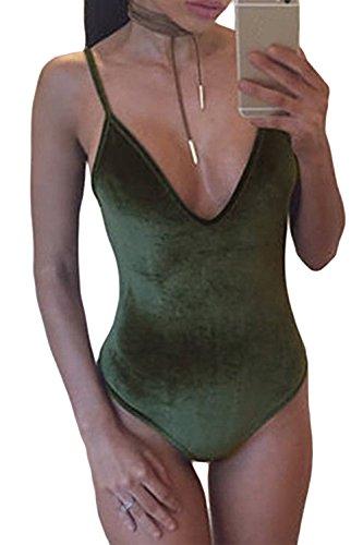 Damen Heißen Samt Bikini Eng Sling Overall Badeanzug Green M