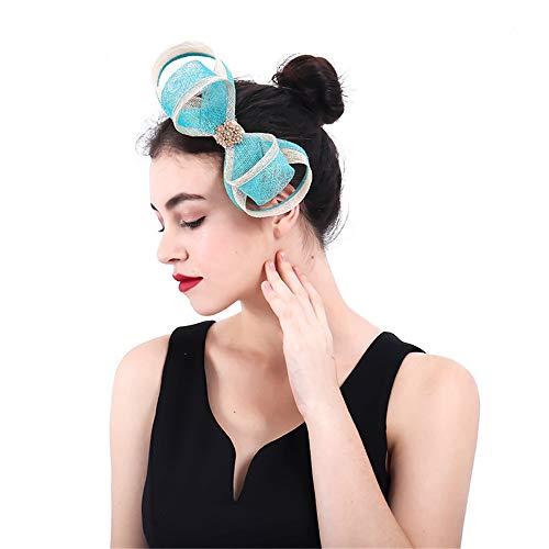 Yiwuhu Eleganter Fascinator-Hut für Damen Frauen Sinamay handgemachte Bogen Fascinator Hochzeit Kopfschmuck Blume Haarspange Zubehör Schmuck