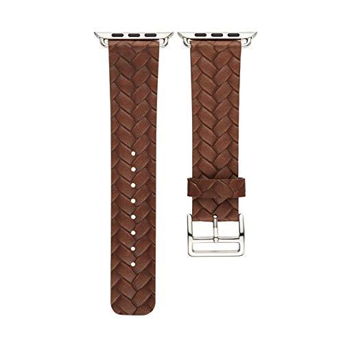 LWHAMA Lwwhama Bucle de Cuero para la Banda de Reloj de Apple 42 mm 38 mm de Tejido Correa de patrón para iWatch 4 3 2 1 Bandas de muñeca Pulsera marrón Reloj de Reloj de Reloj