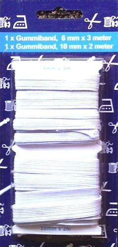 Gummiband / Elastic-Band - 2er-Set: 6 mm x 3 Meter & 10 mm x 2 Meter - weiß