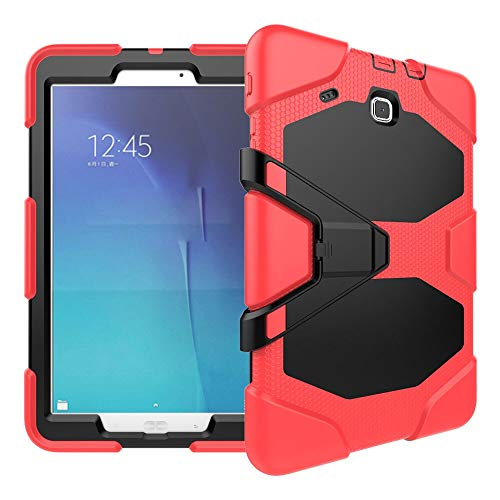 RZL PAD & TAB cases For Samsung Galaxy Tab E T560 SM-T560 9.6 inch, Kickstand Case Shock Proof Cover Silicon High Impact Resistant Stand Cover For Samsung Galaxy Tab E 9.6 inch (Color : R)
