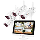 [8CH Expandable] ANRAN All-in-one Wireless Security Camera System with 13'' LCD Monitor, 8CH 1080P WiFi NVR Kits Pre-Install 1TB Hard Drive and 4pcs Outdoor Cameras with Night Vision/Motion Detection